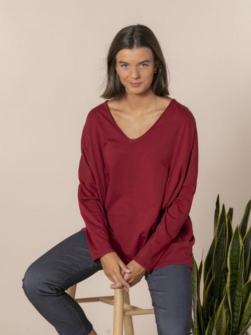 Camiseta mujer cuello pico algodón 100% Rojo