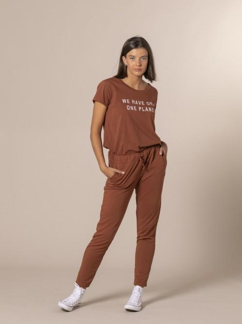 Pantalón mujer de felpa Teja