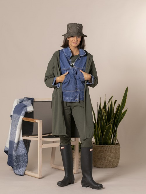 Woman Long casual jacket Khaki