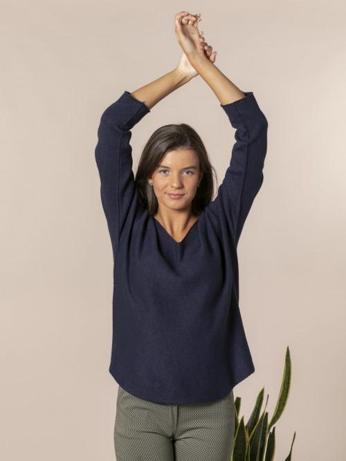 Jersey mujer de punto cuello pico Azul Marino