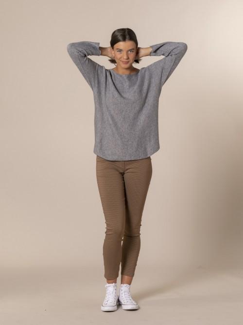 Woman Boat neck knit sweater Grey