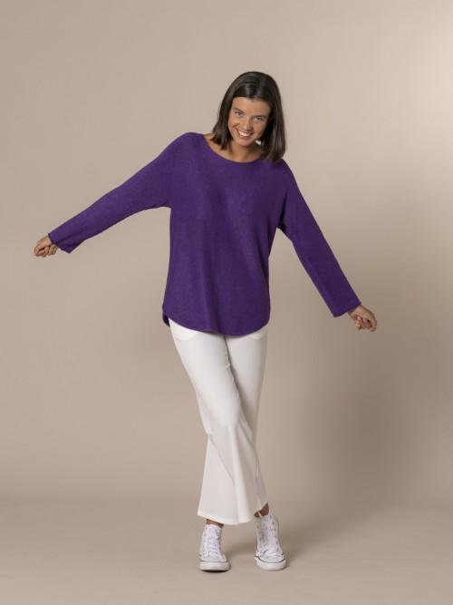 Woman Boat neck knit sweater Violet
