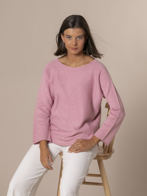 Woman Boat neck knit sweater Pink