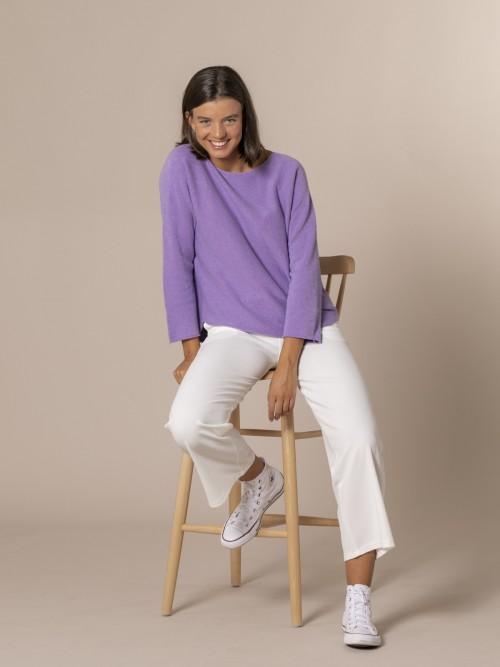 Woman Boat neck knit sweater Lila