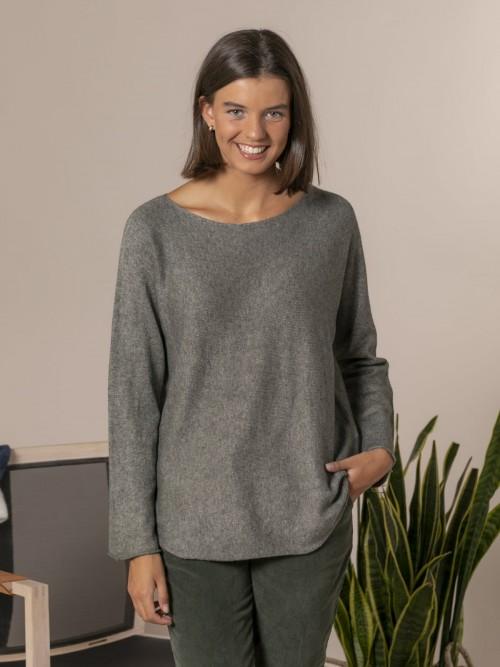 Woman Boat neck knit sweater Green