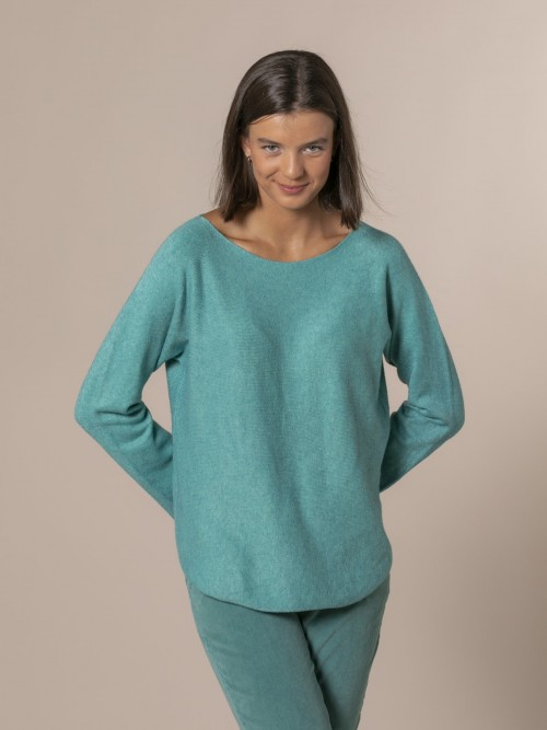 Woman Boat neck knit sweater Turquoise