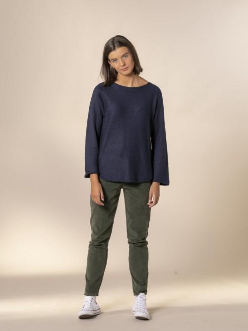 Woman Boat neck knit sweater Blue Navy