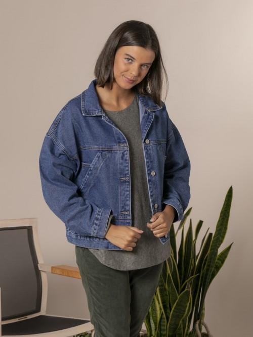 Woman Stone wash denim jacket Blue