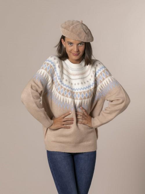 Woman Retro wide sweater Camel