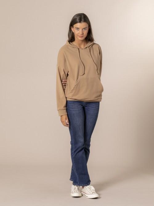 Woman Basic fleece sweatshirt Camel
