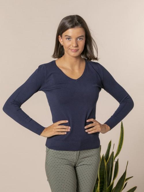 Jersey de punto básico cuello pico Azul Marino