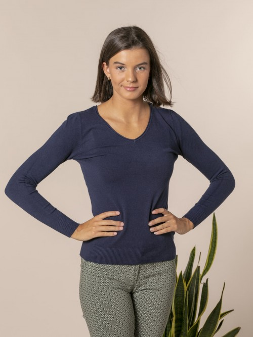 Woman Basic V-neck knit sweater Blue Navy