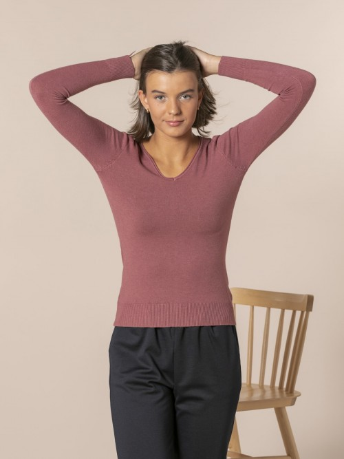 Woman Basic V-neck knit sweater Tile