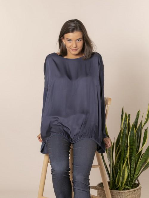 Camiseta mujer oversize chic Azul Marino