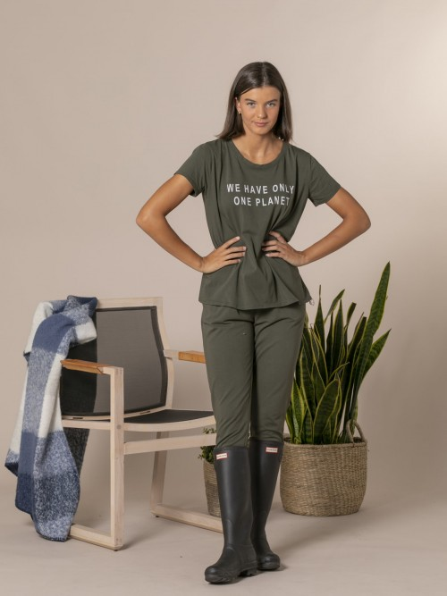 Camiseta mujer mensaje ecofriendly Caqui