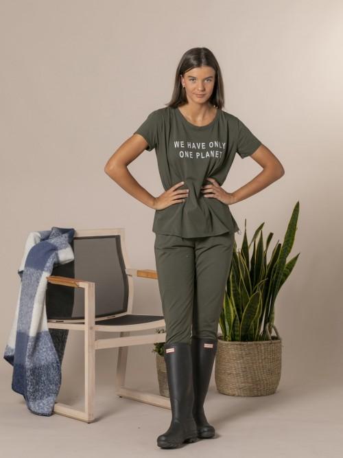 Woman Ecofriendly message T-shirt Khaki