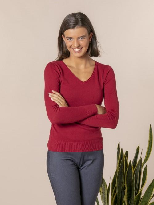Woman Basic V-neck knit sweater Granate