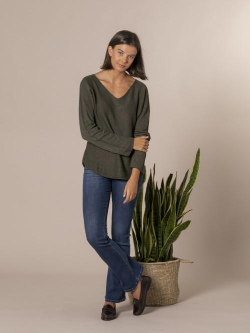 Woman V-neck knit sweater Khaki