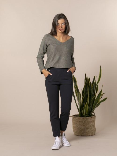 Pantalón mujer bolsillos punto milan Azul Marino