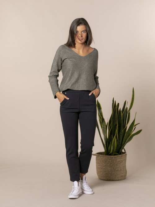 Woman Milan point pocket trousers Blue Navy