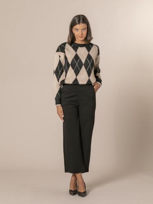 Woman Milano stitch wide leg trousers Black