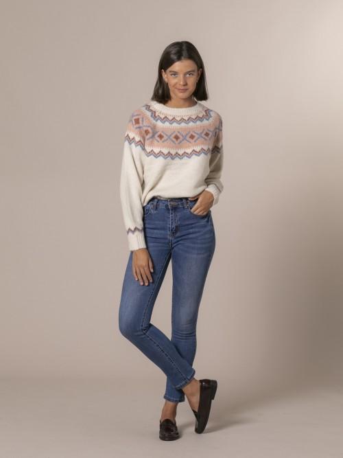 Woman Slim fit denim trousers Blue
