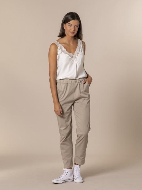 Woman 100% cotton trousers Stone