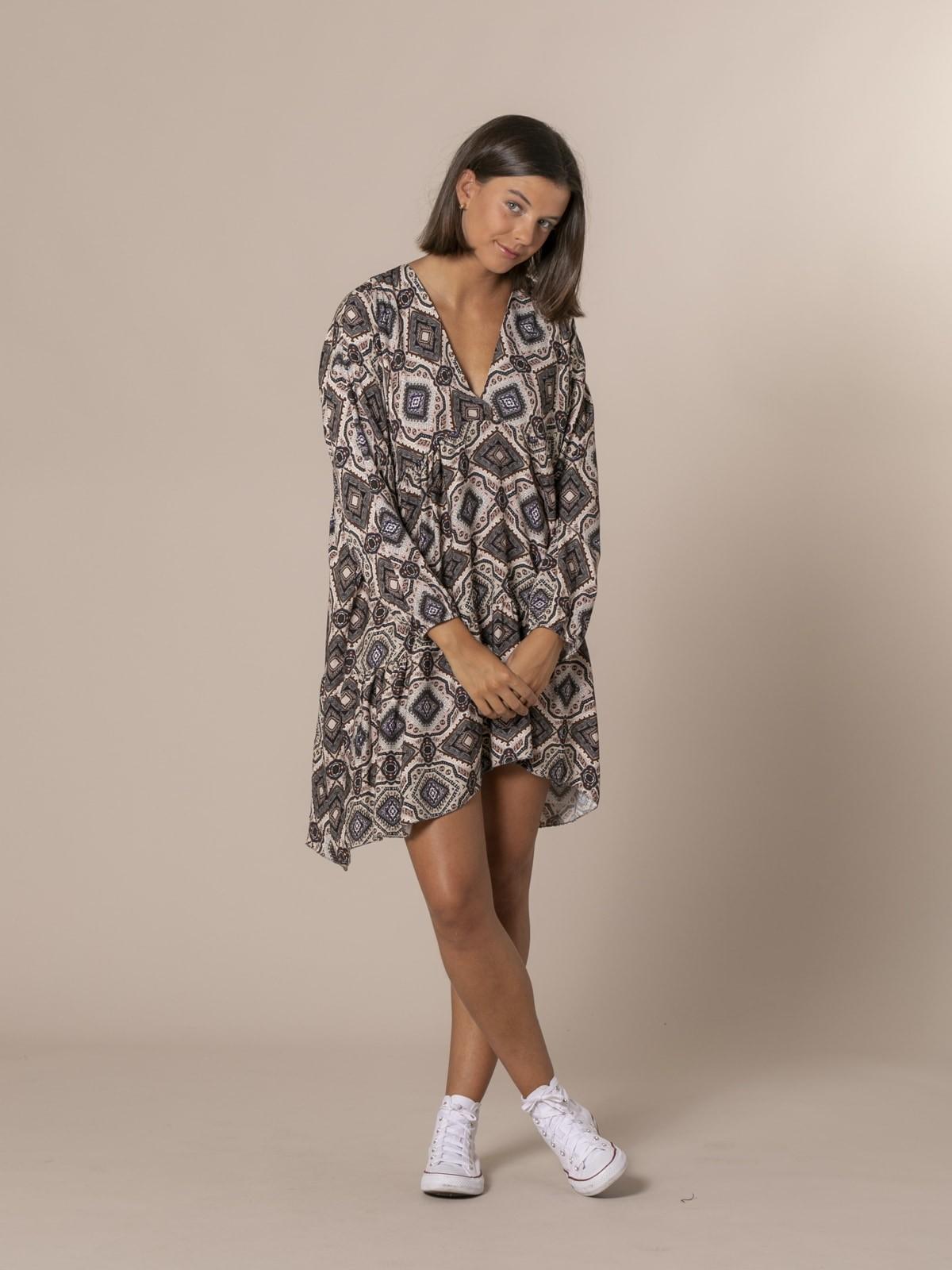 Woman V-neck print dress Grey