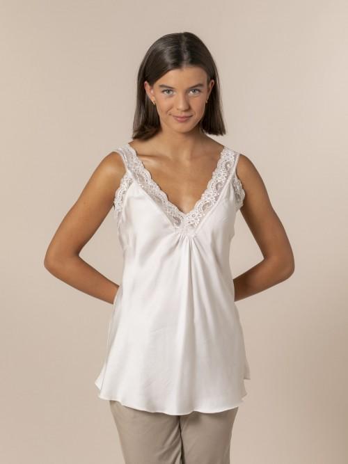 Woman Flowy lingerie top Beige