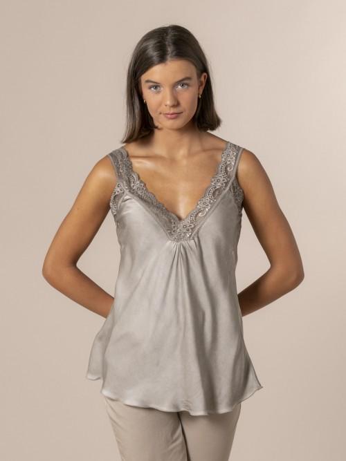 Woman Flowy lingerie top Stone