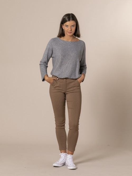Woman Retro print chino trousers Camel