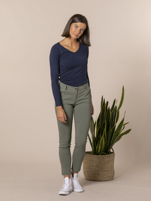 Woman Retro print chino trousers Khaki