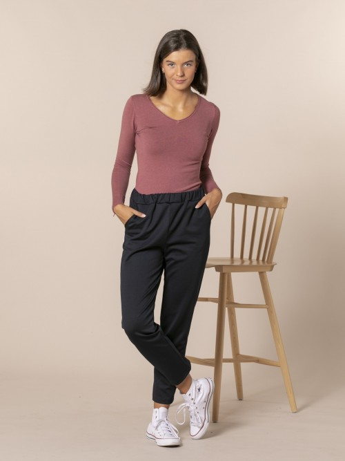 Woman Roma knit trousers Blue Navy