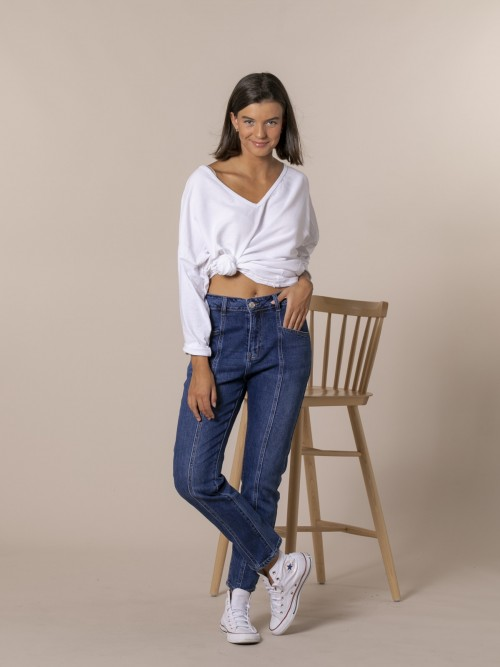 Pantalón denim mujer trendy Azul Lavanda