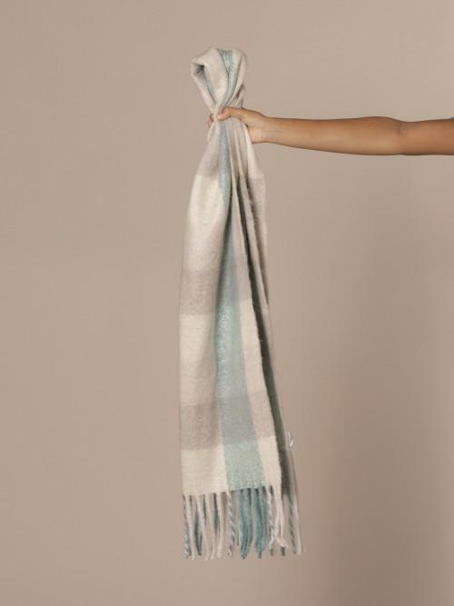 Woman Checked wool scarf Aqua