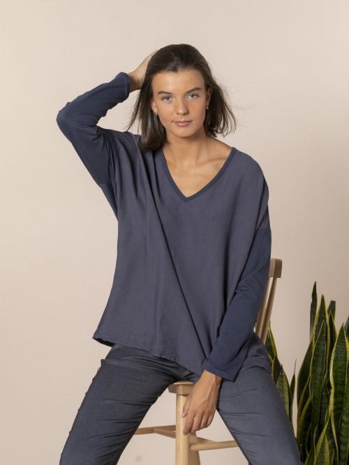 Woman V-neck blouse Blue Navy