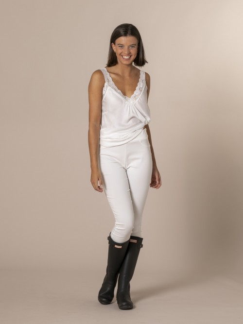 Pantalón mujer slim fit super cofort Blanco
