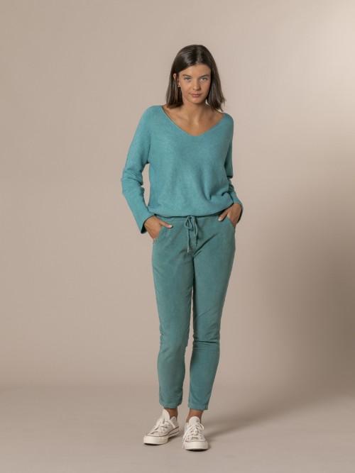 Woman Micro corduroy casual trousers Blue