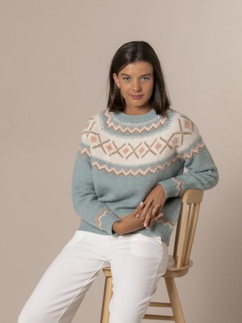 Woman Retro aprés skí sweater Blue