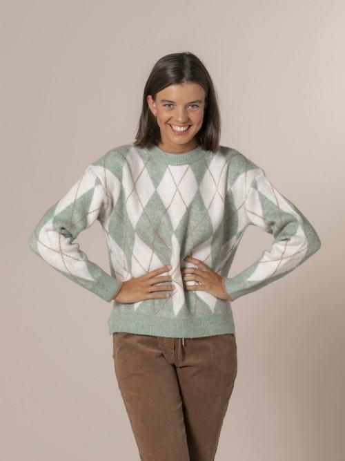 Woman Diamond detail knit sweater mint