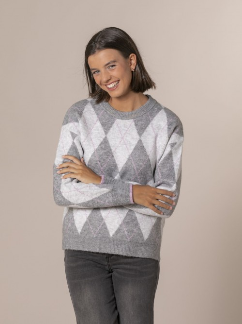 Woman Diamond detail knit sweater Grey