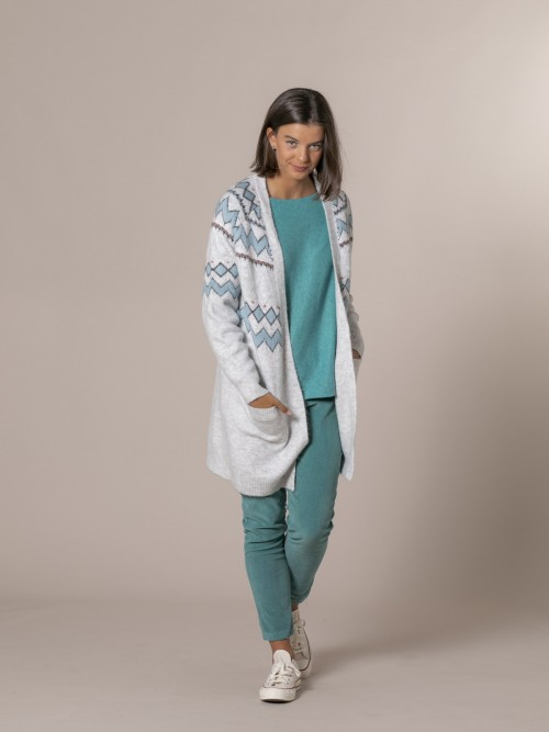 Woman Cardigan with border Blue