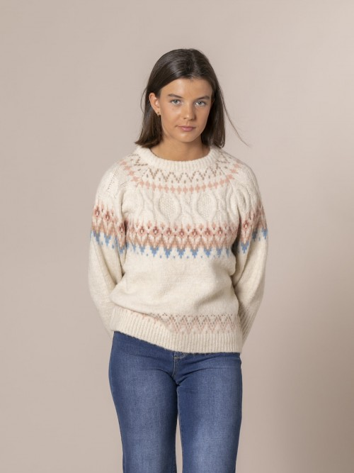 Woman Retro apre-skí sweater Crudo
