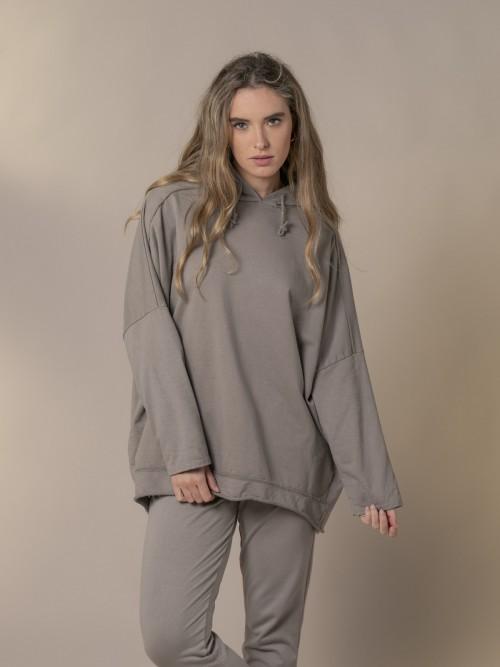 Sudadera mujer oversize con capucha Piedra