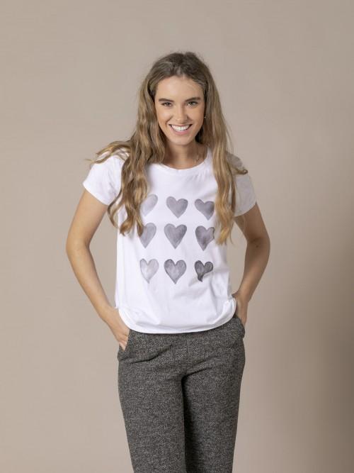 Camiseta mujer estampado corazón Gris