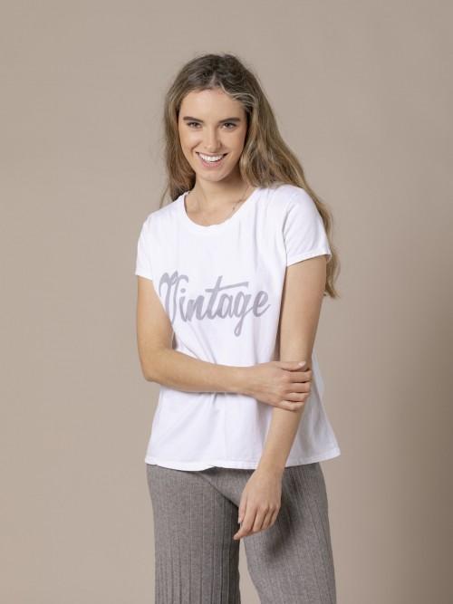 Woman Vitage cotton message T-shirt White