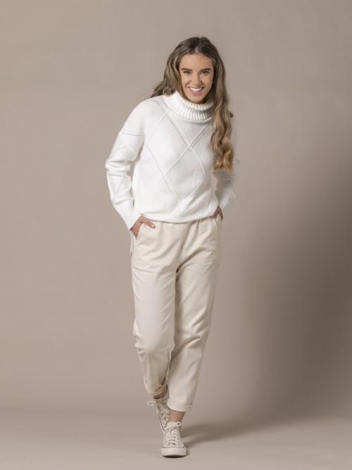 Woman Soft trousers White