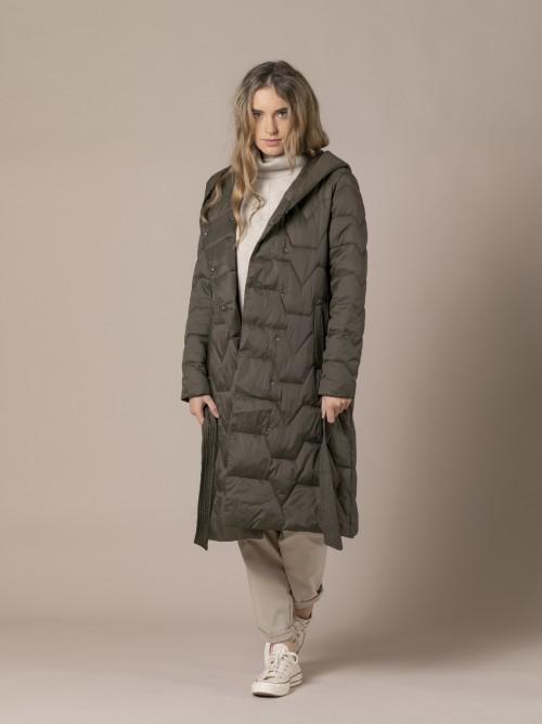 Woman Wrap-around coat with belt Khaki