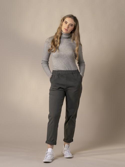 Woman Soft trousers Grey Dark