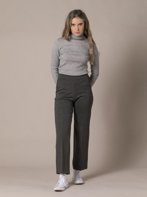 Woman Milan knit culotte trousers Grey